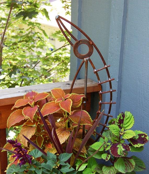 metal garden sculpture  - abstract sculpture -  container garden art - plant stake - industrial art - recycled steel - rusty metal art
