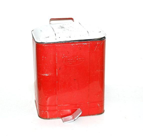 vintage red trash can - removal insert -steel waste basket -  pedal opener - Magikan