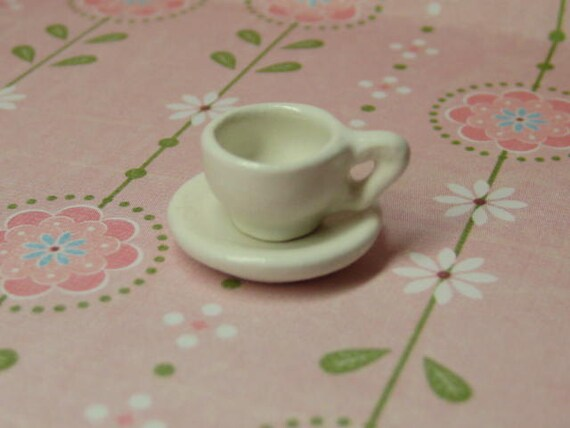 Dollhouse Miniature cup & saucer set - white ceramic tea cup Supplies