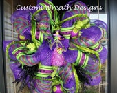 Purple and Lime Halloween Witch Wreath