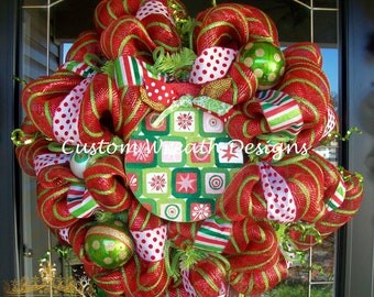 Red and Green Ornament Whimsical Wreath