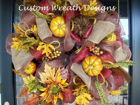 Burlap Fall Harvest Deco Mesh Wreath