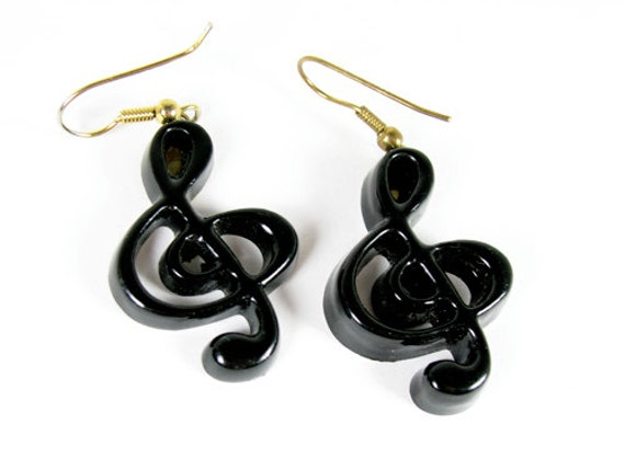 Vintage Black Musical Note Earrings - Boucles d'Oreilles. Vintage Jewelry by My Chouchou.