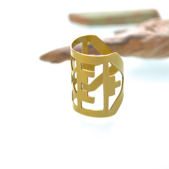 HALF OFF Castle Ring - Carthage Series Hand-Cut Brass Ring