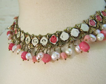 California Girl- Vintage Recycled Statement Necklace- I Love San Diego Enamel with Genuine Freshwater Pearls and Coral- Pink and White