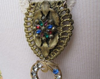 Enchanting- Vintage Refashioned Pendant Necklace- Colorful- Victorian Buckle- Rhinestones- One of a Kind