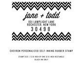 Personalized Address Stamp - Chevron - Self Inking