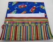 Crayon roll up Rocket ships print fabric crayon holder crayon caddy crayon wallet