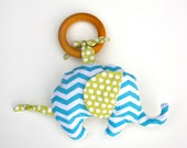 Organic Elephant in Chevron Blue TEETHING ring with Organic Cotton Clutch Teether Toy - Eco Friendly All Natural baby toy- Baby Toy