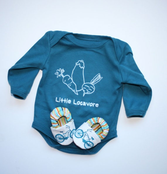 Little Locavore Organic Gift Set for Baby-  Blue Organic Bodysuit and matching handmade Organic Bike Shoes 0 3 6 12 18 months