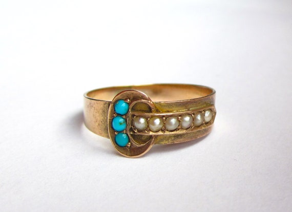 Antique (1879) Victorian Turquoise and Pearl BUCKLE 9KT Ring