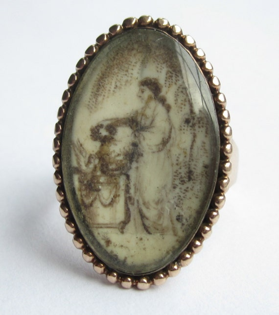 RESERVED Listing- Lovely Antique GEORGIAN Sepia Painted Mourning Ring