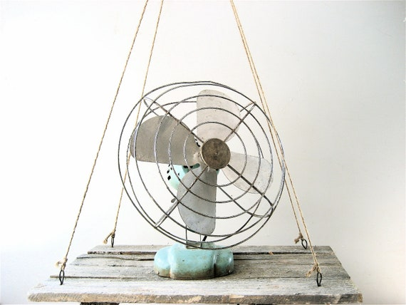 RESERVED Vintage Aqua Fan