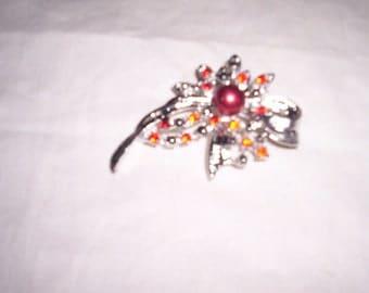 vintage pin brooch red rhinestones faux pearls