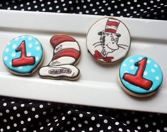 Dr. Seuss Cat in the Hat Sugar Cookie Collection - 1 DOZEN