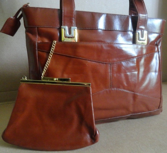 Vintage Handbag/Lou Taylor /Cognac Leather /Tote/Shoulder Bag