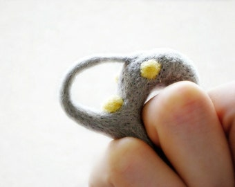 Felt Ring Sculpture - Yellow & Grey Needle Felted