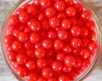 Red Large Sugar Candy Beads - 7mm sprinkles, 2 oz. - For Cupcakes - Cake Decorating - Ice Cream - Desserts - Cookies