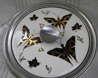 Fire King Bowl with Butterfly Ceramic Lid, made in USA