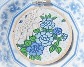 Blue and Cream Embroidery Hoop Art Ornament. Shabby Chic Vintage Retro Fabric Sky Blue Flowers White Christmas Decoration