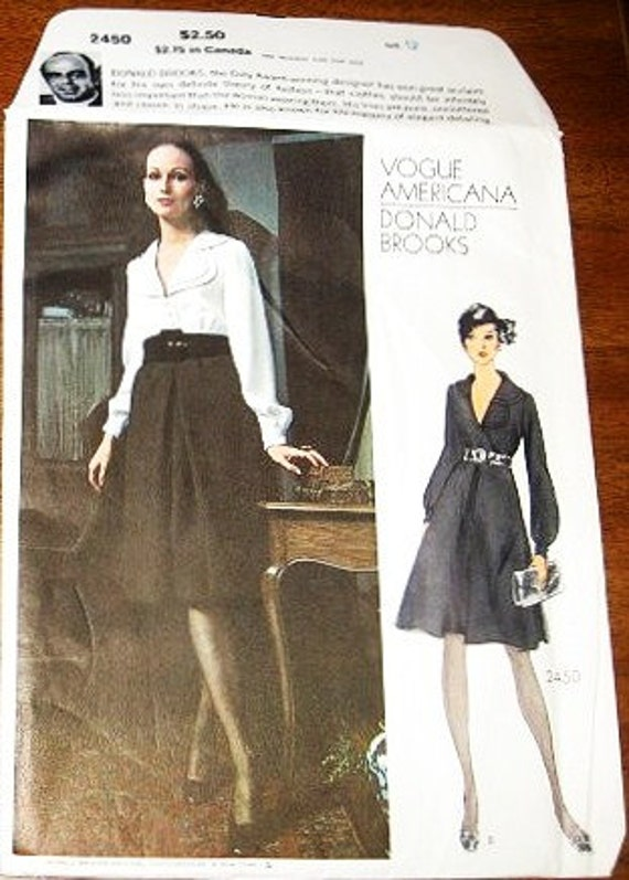 Women's Donald Brooks Dress with Pleat Skirt, Scalloped Collar - Vintage 1970s Vogue Americana Sewing Pattern 2450 - Bust 34 - Factory Folds