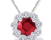 1.30CT Genuine Ruby & Diamond Halo Pendant 14K White Gold