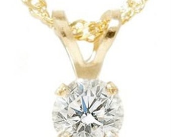 Solitaire Diamond Pendant 14K Yellow Gold 1/4CT