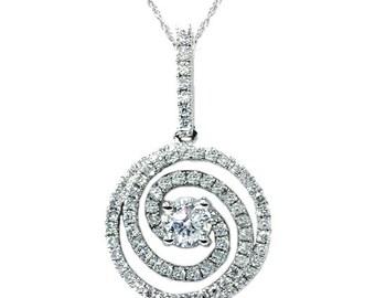 Designer Cut Diamond Dangle Vintage Antique Pendant 18K White Gold SI1 .56CT  Designer Cut Diamond Dangle Vintage Antique Pendant 18K White
