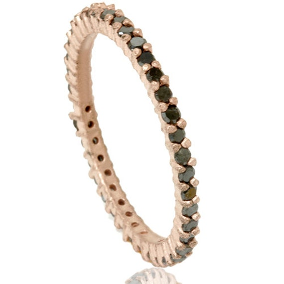 Rough Cut Black 1/2CT Diamond Eternity Stackable Anniversary Ring Band 14K Rose Gold Size (4-9)