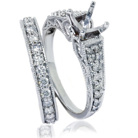 3 4CT Filigree Vintage Diamond Engagement Ring Semi Mount