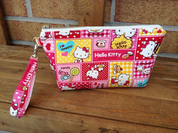 Cute Makeup bag / detachable wristlet / mini purse : Pink Hello Kitty and Sweet Cotton canvas fabric from Japan