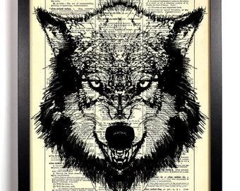 Big Bad Wolf, Home, Kitchen, Nursery, Bath, Office Decor, Wedding Gift, Eco Friendly Book Art, Vintage Dictionary Print 8 x 10 in.