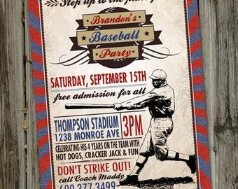 Vintage Baseball Birthday Invitation, Baseball Birthday Party, Baseball Invitation, Vintage Baseball Party, Baseball Party Invitations