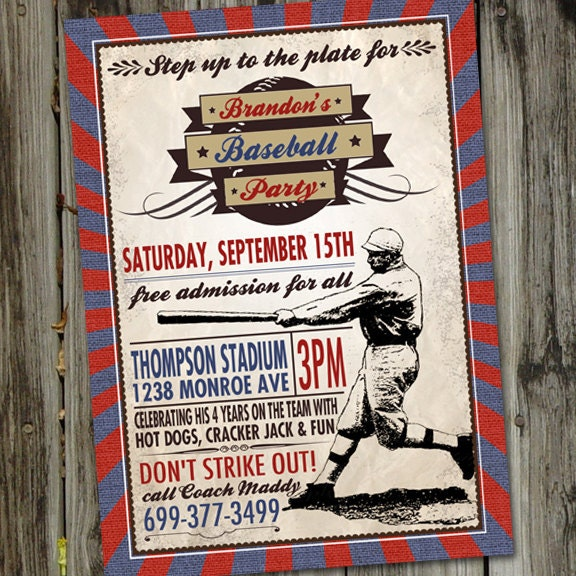 Vintage Baseball Birthday Invitation Baseball Birthday Party