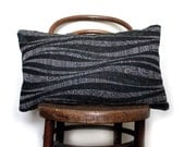 Waves and Paisley. Decorative Pillow / Cushion Cover. Black/ grey. Vintage Japanese Kimono Wool and Natural Linen. Eco.