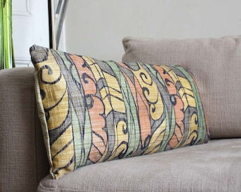 Lumbar Green Orange Tropical Pillow /jacquard  Cushion Cover. Recycled Vintage Obi Sash. 30x65cm 12x26'' or 30x60.