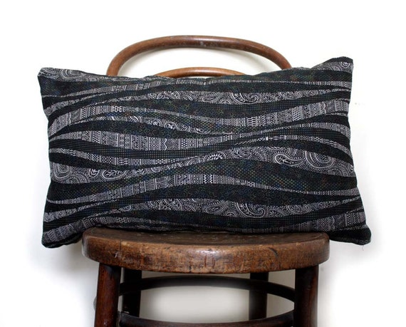 Black Grey Waves and Paisley. Decorative Pillow for Sofa Bohemian Cushion Cover. Natural Pillow. Eco Friendly Throw Cushion