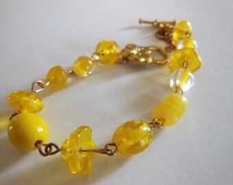 SALE  Yellow mix with key charm bracelet  B007