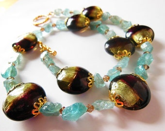 Shiny Lampwork on Aqua gemstone Necklace   348