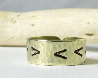 Chevron V Ring- Brass Hammered Band Ring