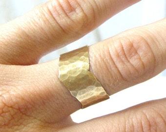 Chevron Ring- Brass Hammered Band Ring