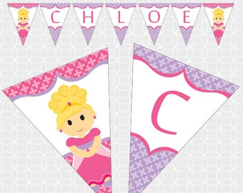Princess Party Banner, Printable file, Personalized