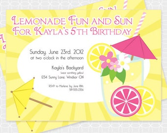 Lemonade Party Invitation, Printable file, Personalized