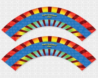 Party Printable Afro Circus Theme Cupcake Wrappers - Personalized Printable