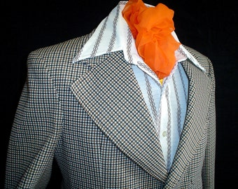 70s 38S Polyester Men's Jacket Sport Coat Sears Brown Plaid