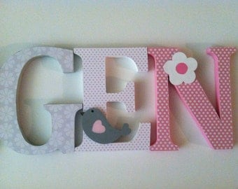 Wooden letters for nursery in pink, gray,white and brown bird themed letters