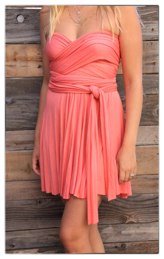 Wrap Dress in Coral Tea Length Summer Dress - Reserved for Rhiannon -