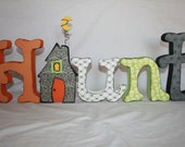 Halloween decoration Haunted house wood letters