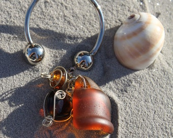 Handmade Key Fob Brown Seaglass Bottletop and Wirewrapped Beads