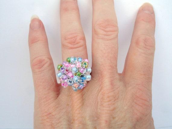 Sherbet Cluster Crochet Beaded Ring